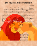 Lion King Simba Nala Can You Feel The Love Tonight Sheet Music Art Print