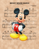Mickey Mouse, Mickey Mouse March Sheet Music Art Print