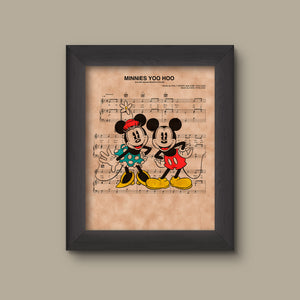 Mickey & Minnie Mouse, Vintage, Minnie's You Hoo Sheet Music Art Print