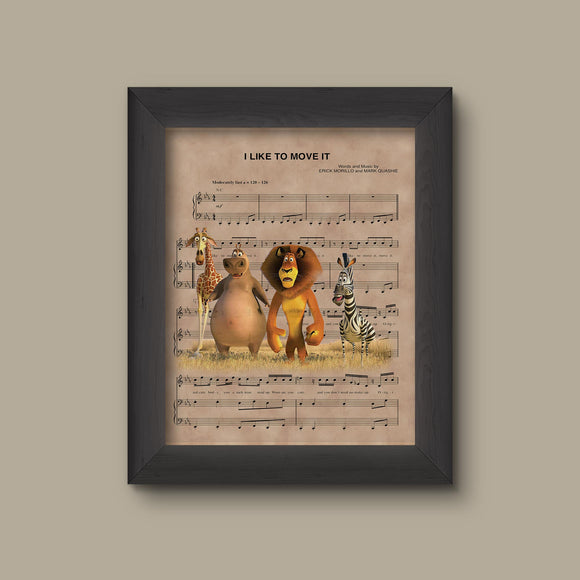 Madagascar, I like to Move It Sheet Music Print