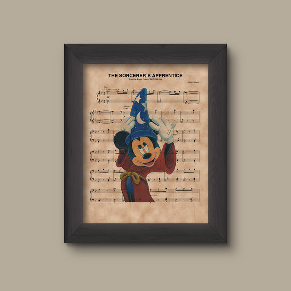 Mickey Mouse, Fantasia, The Sorcerer's Apprentice Sheet Music Art Print