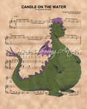 Pete's Dragon, Elliott, Candle On The Water Sheet Music Art Print