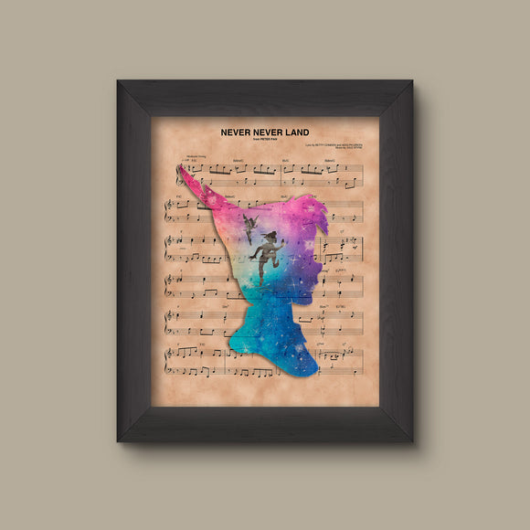 Peter Pan Silhouette Neverland Sheet Music Art Print