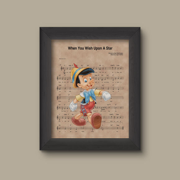 Pinocchio, When You Wish Upon A Star Sheet Music Art Print