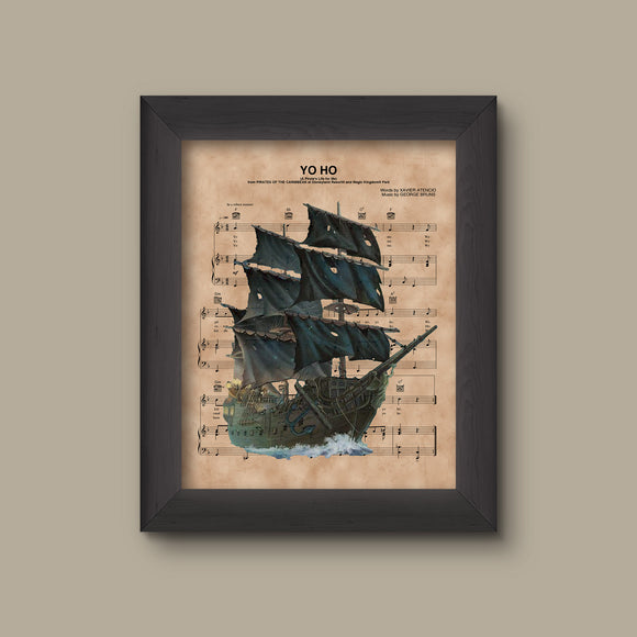 Pirates of the Caribbean Black Pearl Yo Ho Sheet Music Print