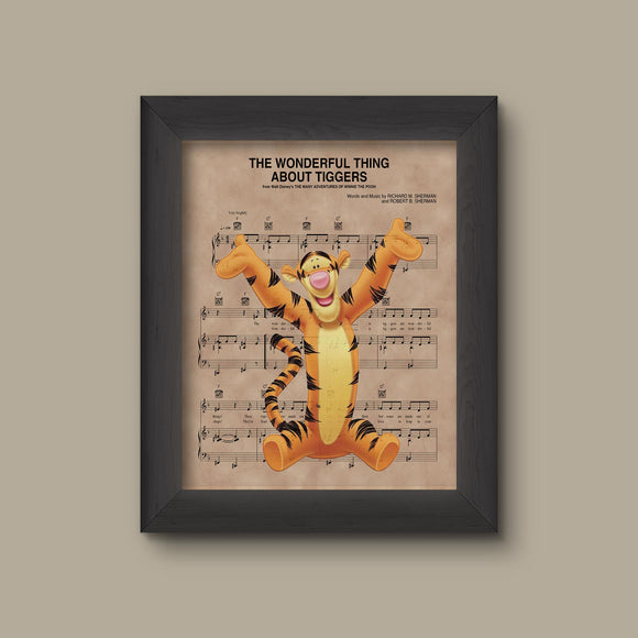 Winnie the Pooh, Tigger, The wonderful Thing About Tiggers Sheet Music Art Print