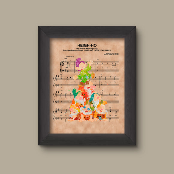 Snow White The Seven Dwarfs Watercolor Heigh-Ho Sheet Music Art Print