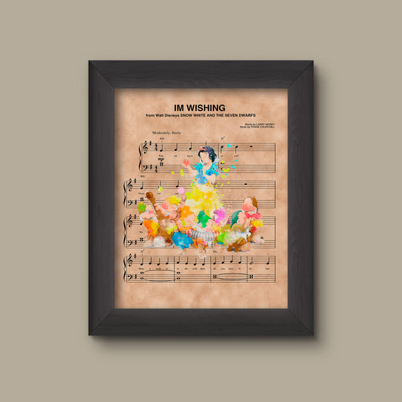 Snow White & The Seven Dwarfs Watercolor Im Wishing Sheet Music Art Print