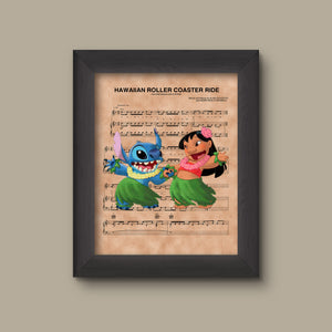 Lilo and Stitch Hula Hawaiian Roller Coaster Ride Sheet Music Art Print