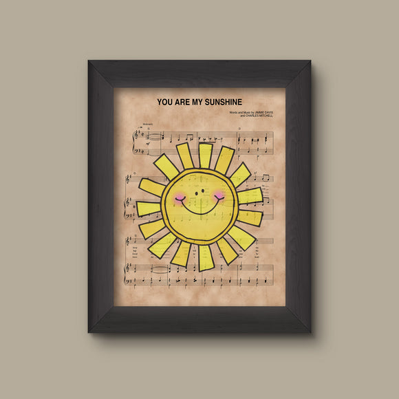 You Are My Sunshine Sheet Music Art Print