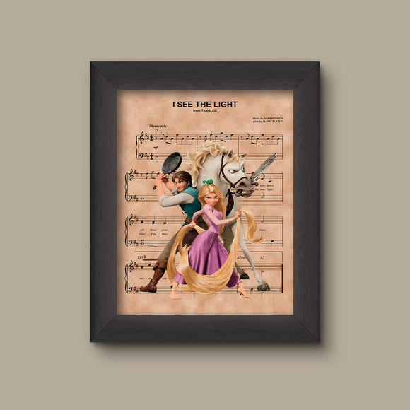 Tangled, Rapunzel and Friends, I See The Light Sheet Music Art Print