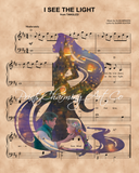 Tangled, Rapunzel Flynn Lantern Silhouette over I See The Light Sheet Music Art Print