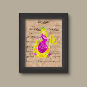 Tangled, Rapunzel, Watercolor, I See The Light Sheet Music Art Print