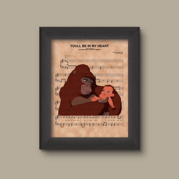Tarzan and Kala, You'll Be In My Heart Sheet Music Art Print