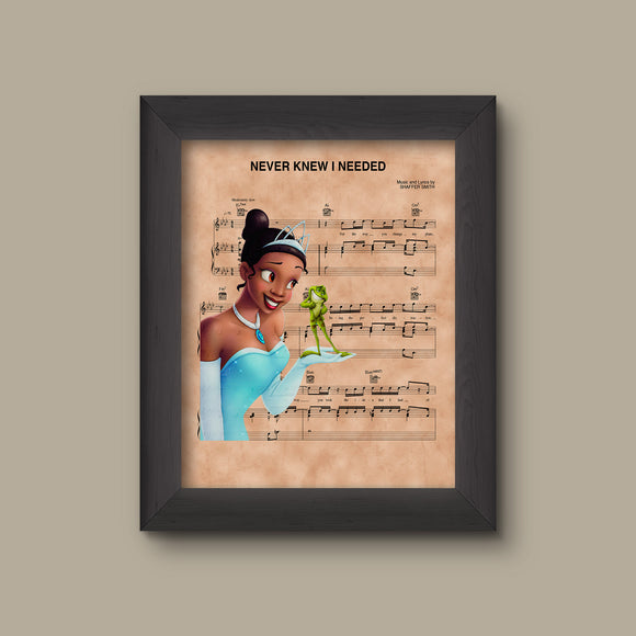 Princess and the Frog Tiana Never Knew I Needed Sheet Music Art Print