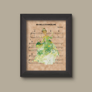 Princess and the Frog Tiana Watercolor Ma Belle Evangeline Sheet Music Art Print