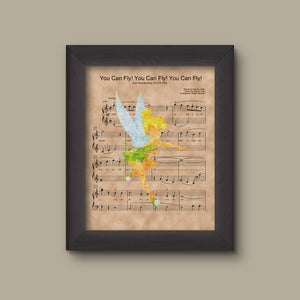 Tinker Bell, Watercolor, You Can Fly! You Can Fly! You Can Fly! Sheet Music Art Print
