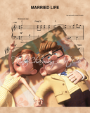 UP, Carl & Ellie On Blanket, Married Life Sheet Music Art Print
