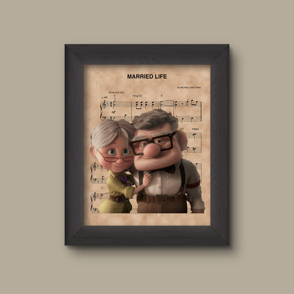 UP, Carl & Ellie, Married Life Sheet Music Art Print