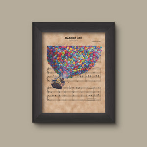 UP House and Balloons, Married Life Sheet Music Art Print