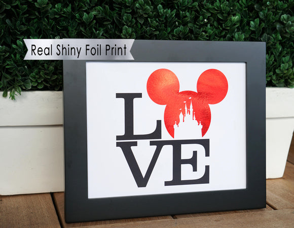 Love Disney Print Mickey Ears, Disney Castle Print Foil