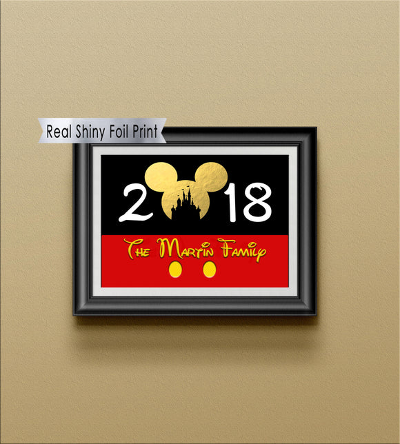 2018 Disney Castle Ears Wall Art, Custom Family Name