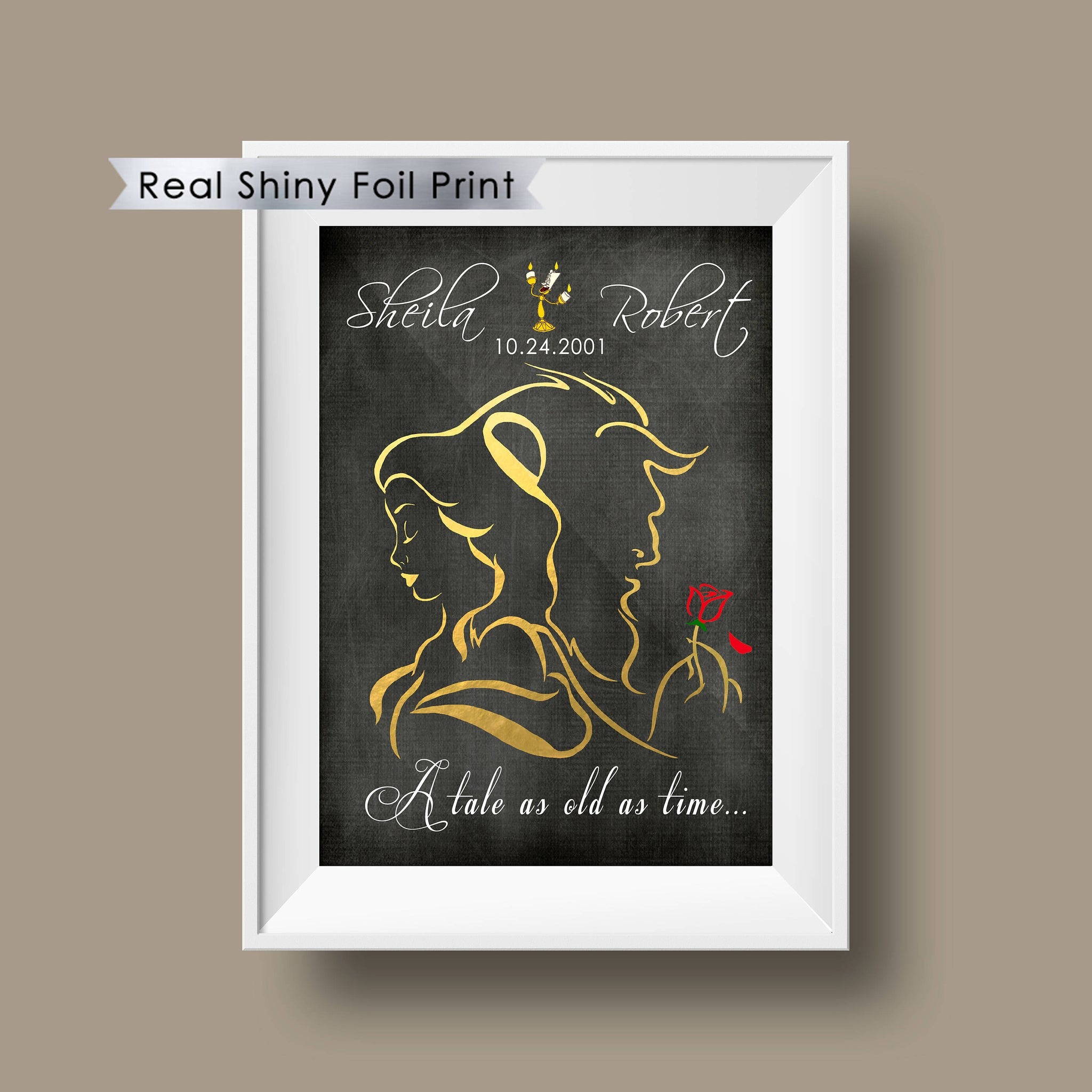 Beauty And The Beast Falling Rose Personalized Foil Print Prints