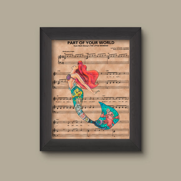 Disney Little Mermaid, Ariel Sheet Music Art Print