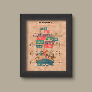 Disney It's A Small World Sheet Music Art Print, Disney Gift