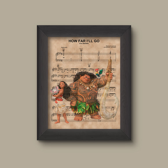 Disney Moana and Maui How Far I'll Go Sheet Music Art Print Gift, Disney Wedding Gift