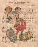 Mickey Mouse, Sketch, When You Wish Upon A Star Sheet Music Art Print