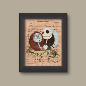 Nightmare Before Christmas Simply Meant to Be Sheet Music Art Print, Wedding Gift