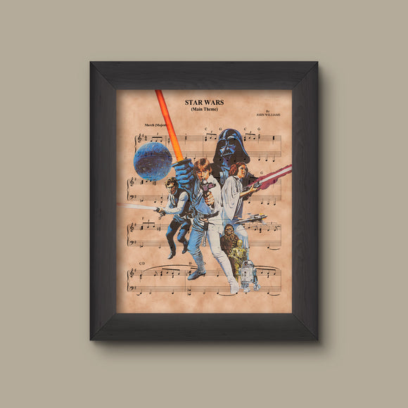 Disney Star Wars Sheet Music Art Print, Original Trilogy Print