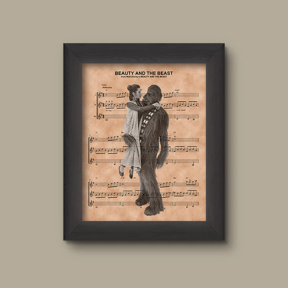 Star Wars Beauty and the Beast Mashup Sheet Music Art, Wedding Gift