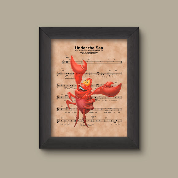 Disney Little Mermaid, Sebastian Sheet Music Art Print
