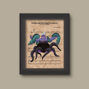 Disney Little Mermaid, Ursula with Flotsam and Jetsam Sheet Music Art Print