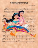 Aladdin and Jasmine Magic Carpet Ride A Whole New World Sheet Music Art Print