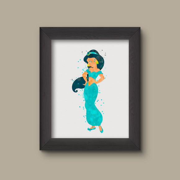 Aladdin Jasmine Watercolor Art Print