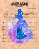 Cinderella, Silhouette Prince Charming A Dream Is A Wish Your Heart Makes Sheet Music Art Print