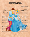 Cinderella, Prince Charming A Dream Is A Wish Your Heart Makes Sheet Music Art Print