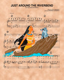 Pocahontas, Just Around The Riverbend Sheet Music Art Print
