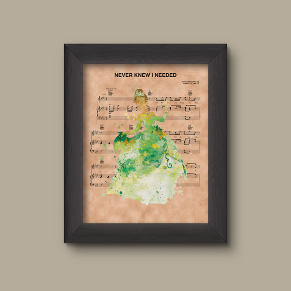 Princess and the Frog Tiana Watercolor Never Knew I Needed Sheet Music Art Print