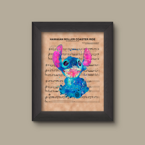 Lilo and Stitch Hawaiian Roller Coaster Ride Sheet Music Art Print