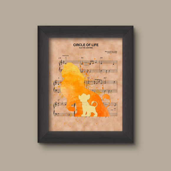 Lion King Mufasa Simba Silhouette Watercolor Circle of Life Sheet Music Art Print