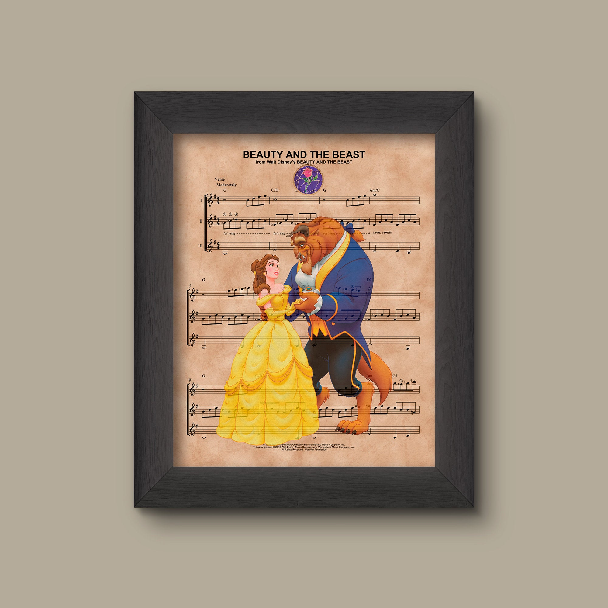 Beauty And The Beast Sheet Music Print Prints Charming Art Llc
