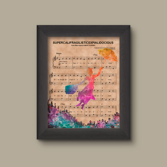 Disney Mary Poppins Gift,  Marry Poppins Water Color Silhouette Sheet Music Art