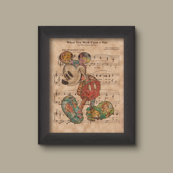 Mickey Mouse When You Wish Upon A Star Sheet Music Art Print