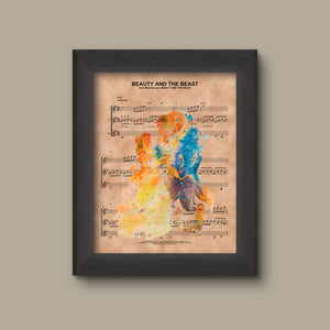 ... Sheet Music Print. Beauty and the Beast Watercolor, Disney Wedding Gift