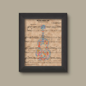 Disney Coco Remember Me Sheet Music Art Print Gift, Disney Nursery Gift