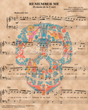 Coco Remember Me Skull Sheet Music Art Print